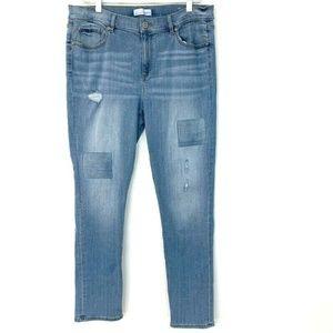 LOFT Modern Skinny Distressed Ankle Jeans